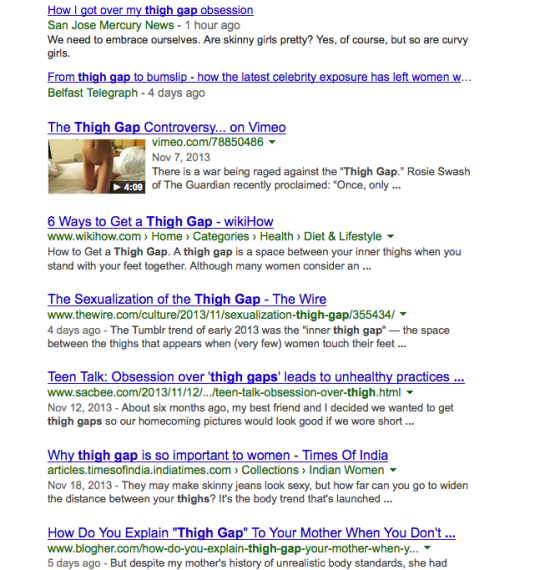 Screen Shot of Google Search of 'Thigh Gap'