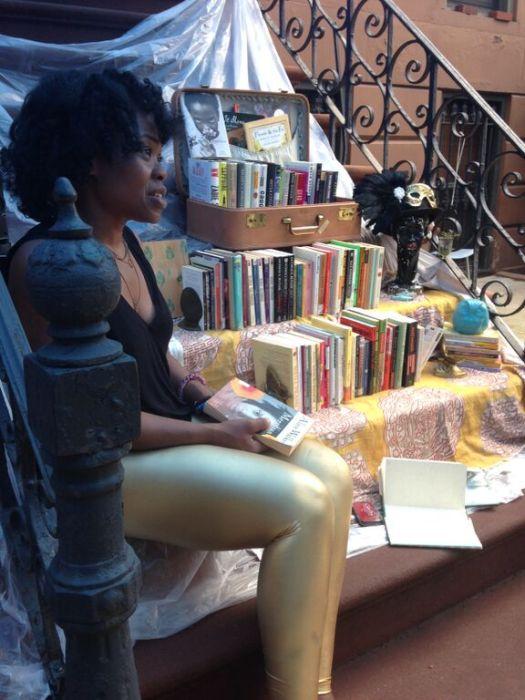 Artist Olaronke Akinmowo at her The Free Black Woman's Library  Photo Credit: Bianca Clendenin